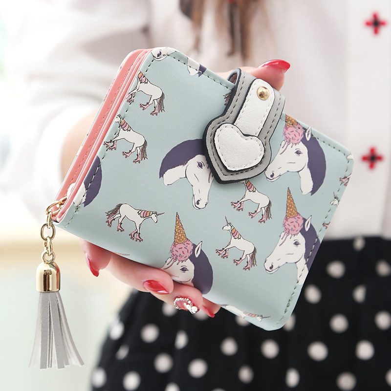 Fashion Cute Cartoon Girls Wallets Girl Animal Printing Short Wallets Small Purses Card Holder Coin Purses Women Wallet Purse 2017new coin purses wallet ladies 3d printing cats dogs animal big face fashion cute small zipper bag for women mini coin purse