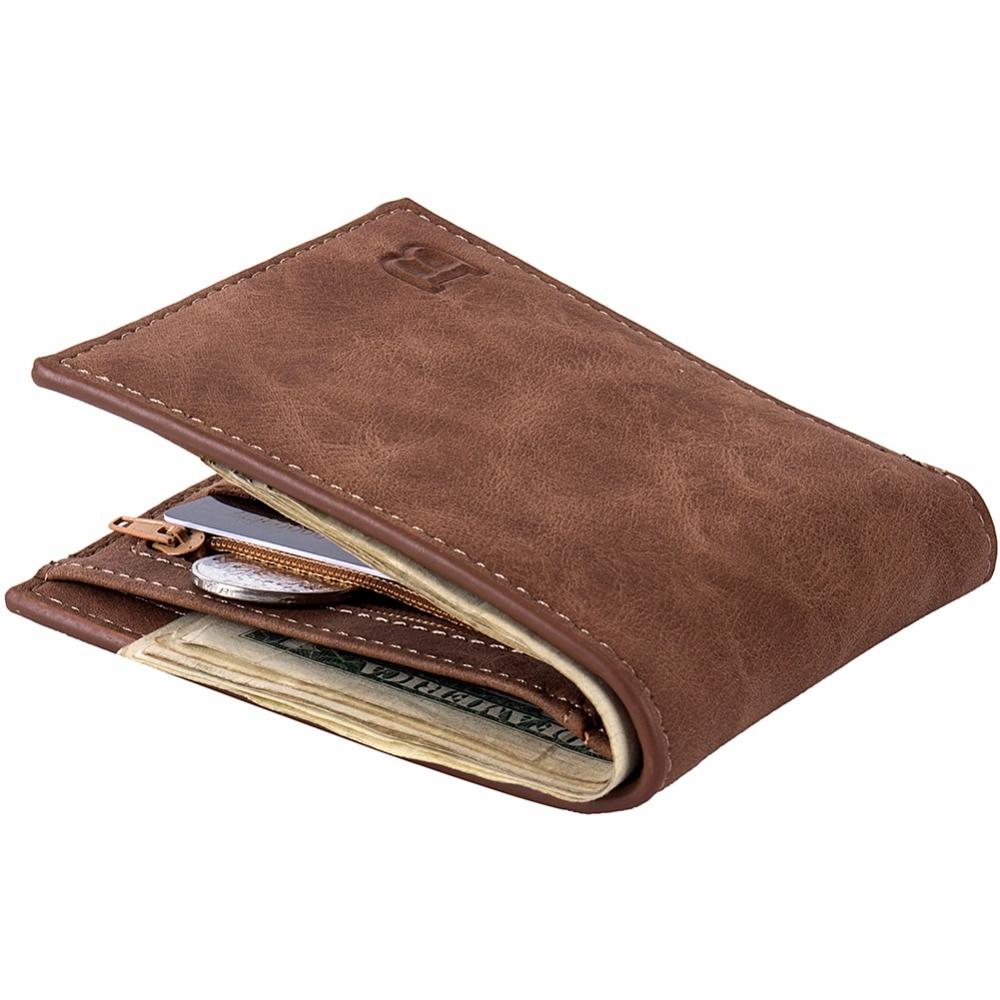 Fashion 2018 Men Wallets Mens Wallet with Coin Bag Zipper Small Money Purses New Design Dollar Slim Purse Money Clip Wallet