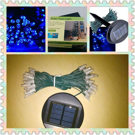 Free shipping 60 LED 10M Solar String Fairy Lights Xmas Outdoor Party  Blue  Wholesale 100%New High quality 120pcs/lots