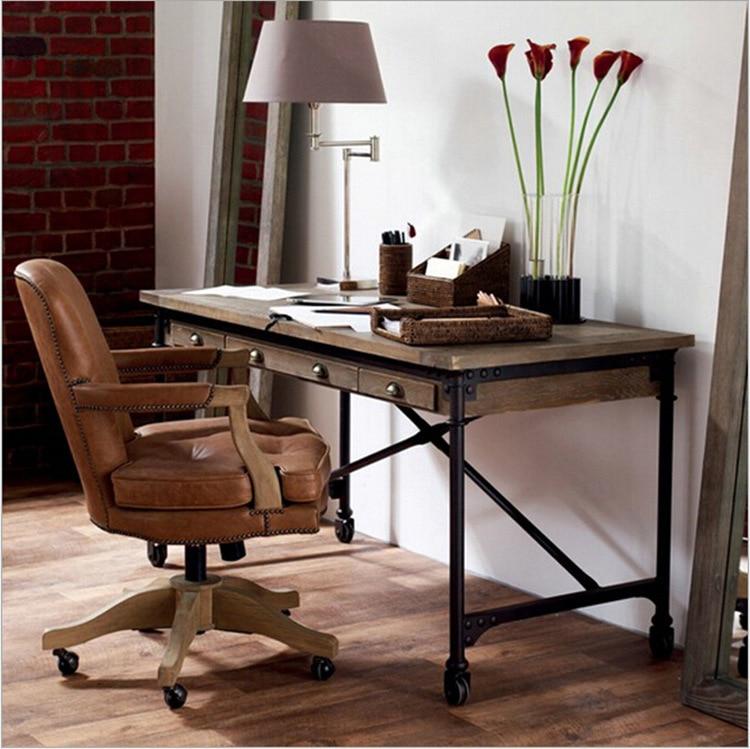 table de conference vintage bureau en bois bureau d ordinateur avec poulie en vieux fer forge artisanat en metal creatif