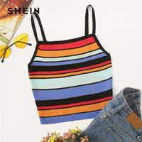 SHEIN Rainbow Stripe Knit Cami Top Women 2019 Boho Women Clothing Stretchy Slim Fit Summer Vests Spaghetti Strap Crop Tops