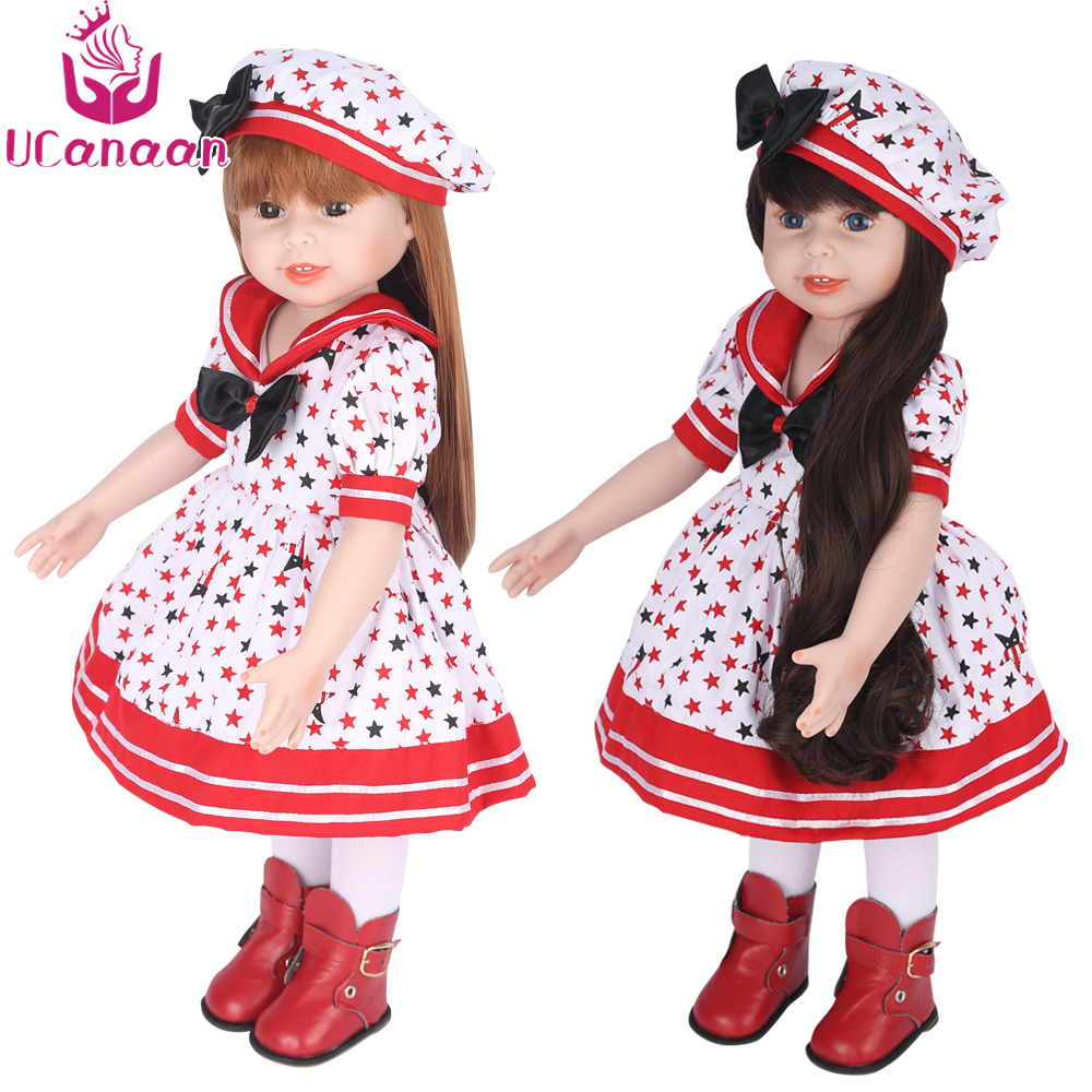 UCanaan American Girl Doll Reborn 45CM Full Vinyl Silicone Dolls Long Hair Sweet Girl With Hat Dress Princess Baby Newborn Toys christmas costume dress for 18 45cm american girl doll santa dress with hat for alexander doll dress