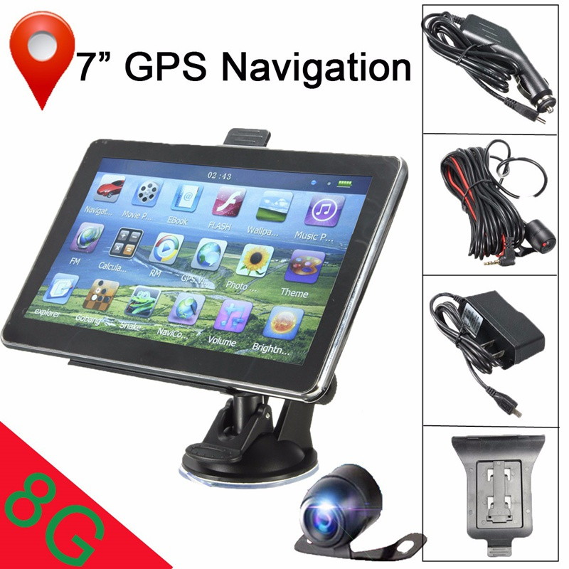7 Inch Car GPS Navigation System HD Wireless Backup Camera Reverse Rear View Bluetooth 8G Reverse