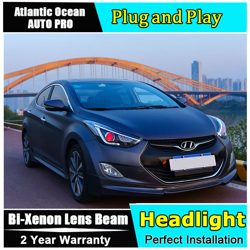 2013 2016 For Hyundai elantra headlights car styling light guide H7 elantra new head lamps Bi
