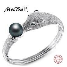 [Yinfeng] AAAA alta calidad Real 925 de plata del encanto del tigre pulsera para las mujeres 4 colores Rearl Natural Brazalete de Perlas de La Joyería Caja de Regalo