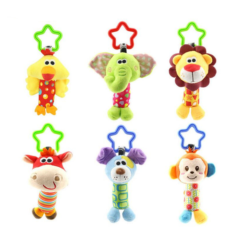 Baby Kids Bearoom Rattle Toys Cartoon Animal Plush Hand Bell Baby Stroller Crib Hanging Rattles Toys Infant Bed Hanging Gift