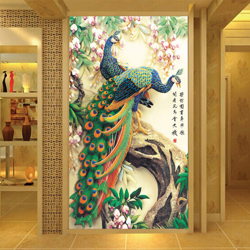 Chinese Wallpaper Classic Peacock Photo Mural Living Room Hotel Entrance Hall European Style
