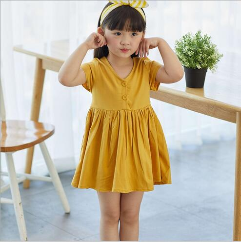 girls dress baby girls dress 2018 summer Girl button bow casual Princess Dresses Toddler Girl Clothing 2-6Y