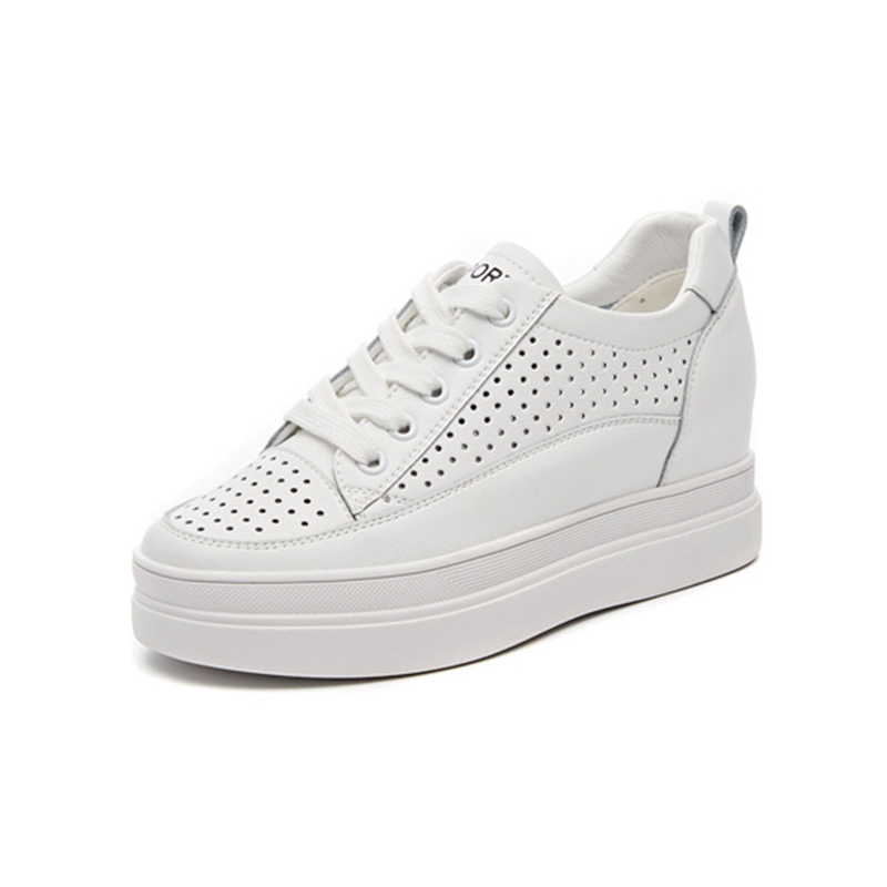Genuine Leather White Sneakers For Woman Platform Shoes 2019 Spring Summer Hidden Heel 3 5cm Thick