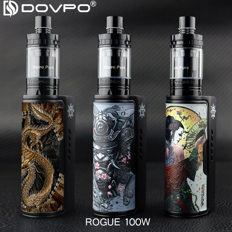 Newest DOVPO Box Mod Electronic Cigarette Starter kit Rogue 100W Kit 18650/26650 Battery Box Mod Zinc Alloy E Cigarette vape Mod