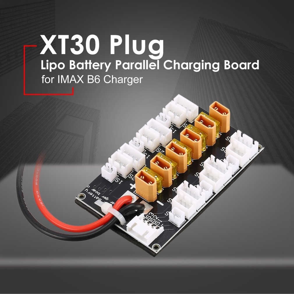 6 Packs XT30 1S-3S 20A XT30 Plug Lipo Battery Parallel Charging Board For RC IMAX B6 Charger Car Drone Balance Charge Part