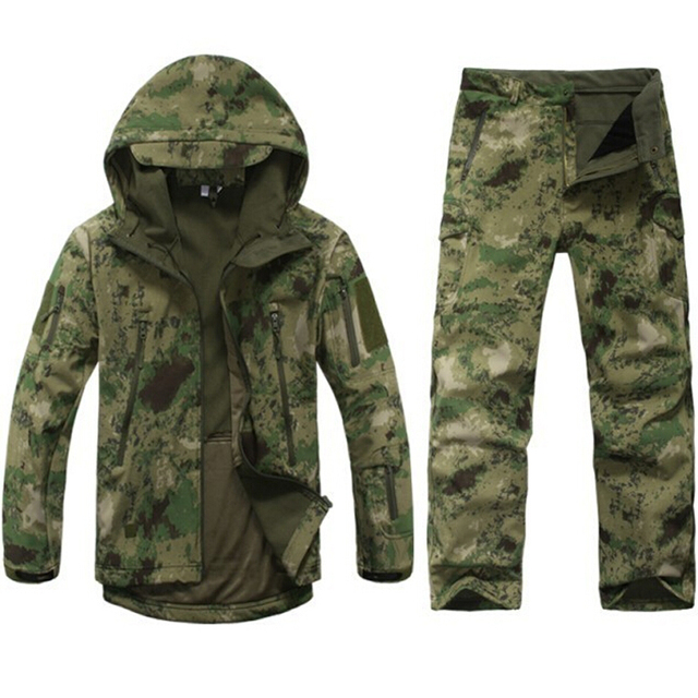 41af7156c74c6 TAD Tactical soft shell jacket Men Army Waterproof Camo huntingClothes Suit  Camouflage Shark Skin Military Jacket CoatsPants