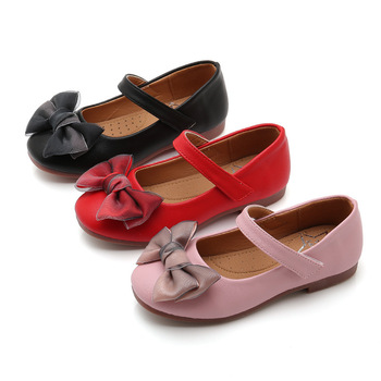 Spring Autumn kids girls shoes bowknot Kids for Dance Party children baby Student Leather Black