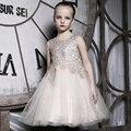 2016 Chica de moda Vestido de Fiesta champagne Flor de La Princesa Boda Vestidos de Niña Con vestido Del Chaleco Del Arco Niño Ropa Kids Wear Regalo