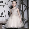 2016 fashion Girl Vestido de Festa champagne Vestidos Da Menina de Flor vestido de Casamento Da Princesa Com Arco Colete vestido de Criança Roupas Desgaste Dos Miúdos Presente