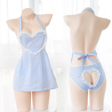 Sexy Women's Lingerie 2PCS Set Apron & Panties Set Transparent Lace Cute Exotic Apparel