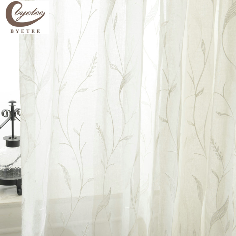 [byetee] White Gauze Embroidered Voile Dapur Tirai Pintu Untuk Benang - Tekstil rumah