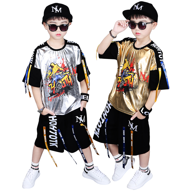 Big Boys Summer Sequined Sets Woven Belts Color Patchwork Loose Fit T-shirts+Shorts 2PCS Clothing Sets Fashion Drum Rack SetsBig Boys Summer Sequined Sets Woven Belts Color Patchwork Loose Fit T-shirts+Shorts 2PCS Clothing Sets Fashion Drum Rack Sets