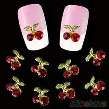 10 pçs diy 3d brilhante cereja forma prego arte etiqueta pregos glitters manicure decalques de cristal maquiagem etiqueta do prego beleza decoração