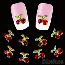 10pcs DIY 3D Shiny Cherry Shape Nail Art Sticker Studs Glitters Manicure Crystal Decals Makeup Nail Sticker Beauty Decoration