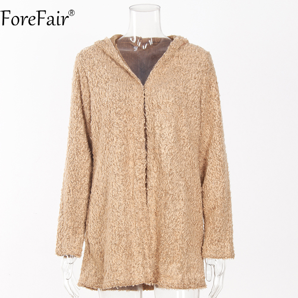 ForeFair Autumn Winter Thick Knitted Hooded Long Cardigans Plus ...