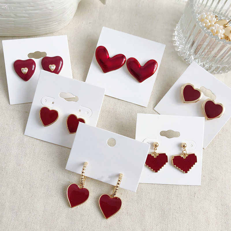 Aomu Baru Fashion Wanita Anting-Anting Anting-Anting Red DROP Glaze Cinta Hati Bentuk Anting-Anting Perempuan Fashion Resin Akrilik Perhiasan Hadiah Brincos