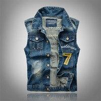 New Men S Fashion Slim Large Size Menswear Denim Vest Hole Casual Trends Waistcoat Vest Plus