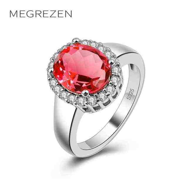 MEGREZEN Silver Ring With Red Stone Wedding Party Jewelry Rings Wholesale  Valentineu0027S Day Gifts For Women
