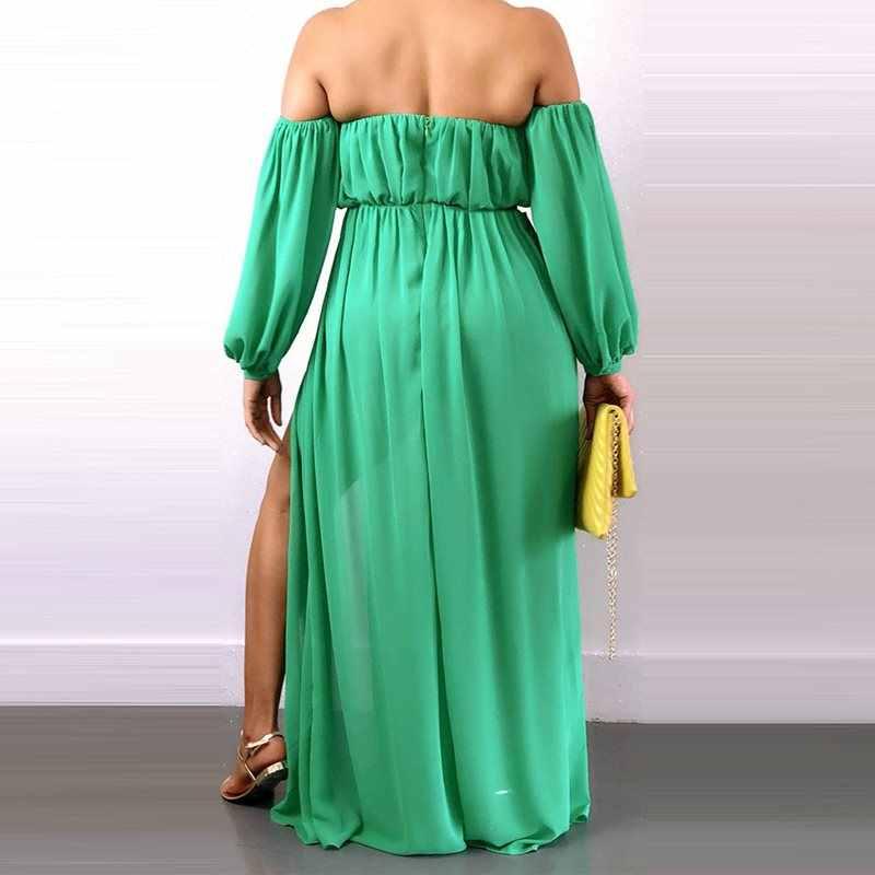 ชุดราตรียาวผู้หญิง Elegant Backless สีขาวสายจีบแยกฤดูร้อนใหม่ลำลองแอฟริกัน Maxi Dresses