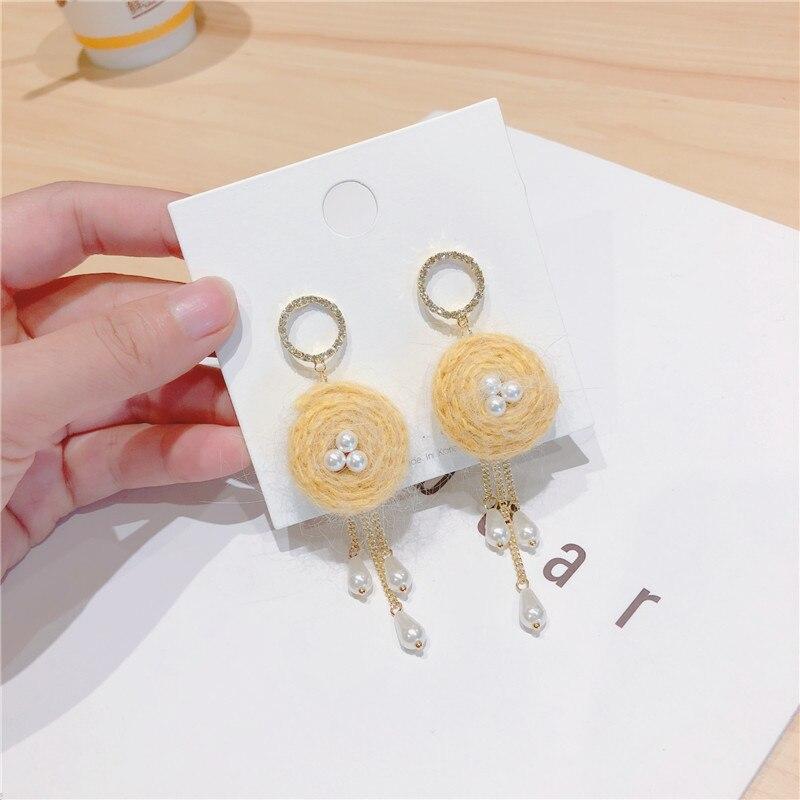 Korean Japan Woolen Ball Pearl Tassel Anti allergy Sweet Autumn Fall Winter Women Dangle Drop Earrings Fashion Jewelry QQD5 in Drop Earrings from Jewelry Accessories
