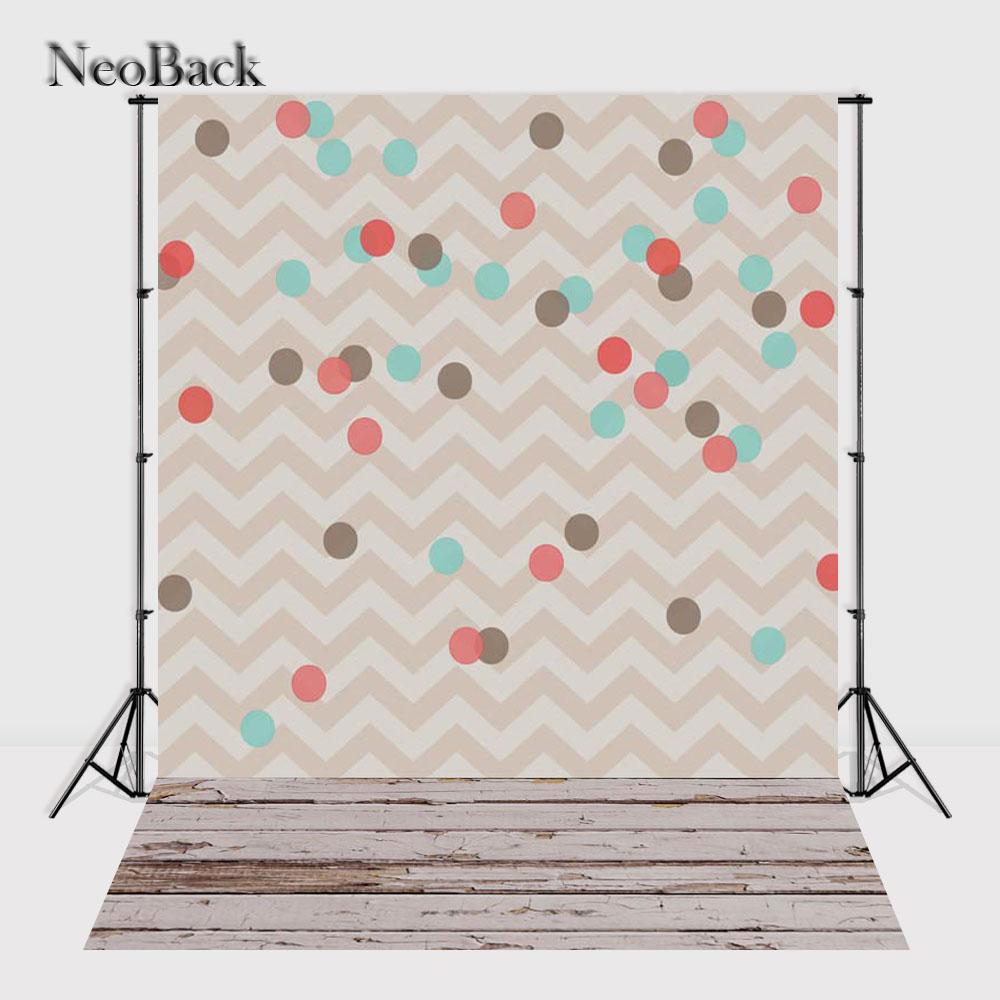 Prix pour NeoBack 5x7ft Vinyle Tissu Nouveau-Né Bébé Zigzag Points D'anniversaire Motif Milieux Imprimé Enfants Studio Photo Décors P0938