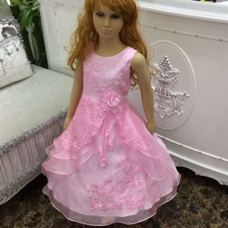 Kids Dresses For Girls 2- 14 Years 2017 New Design Flower Girl Dresses For Weddings Child Birthday Party Gown Embroidery Organza