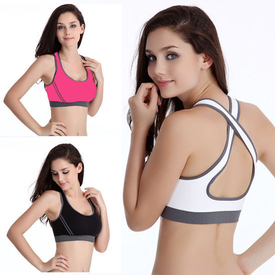 Women Sexy  Bra Seamless Racerback Back Double Cross s Half-length Fitness Tank Top Bra HO871068