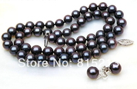 ddh00832 Gorgeous AAA+ round 7 7.5mm black blue akoya pearl necklace earring