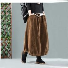 تنورة نسائية فضفاضة بخصر مطاط بلون واحد تنورة بتصميم عتيق للسيدات لخريف وشتاء 2019 جيوب تنورات نسائية