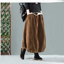Kobiet jednolity kolor w pasie luźne sztruks Retro spódnica damska Vintage spódnice jesienno-zimowe 2019 kieszenie kobiece spódnice tanie tanio Werainyee COTTON Chiński styl Stałe -Line NONE Połowy łydki Naturalne Kobiety