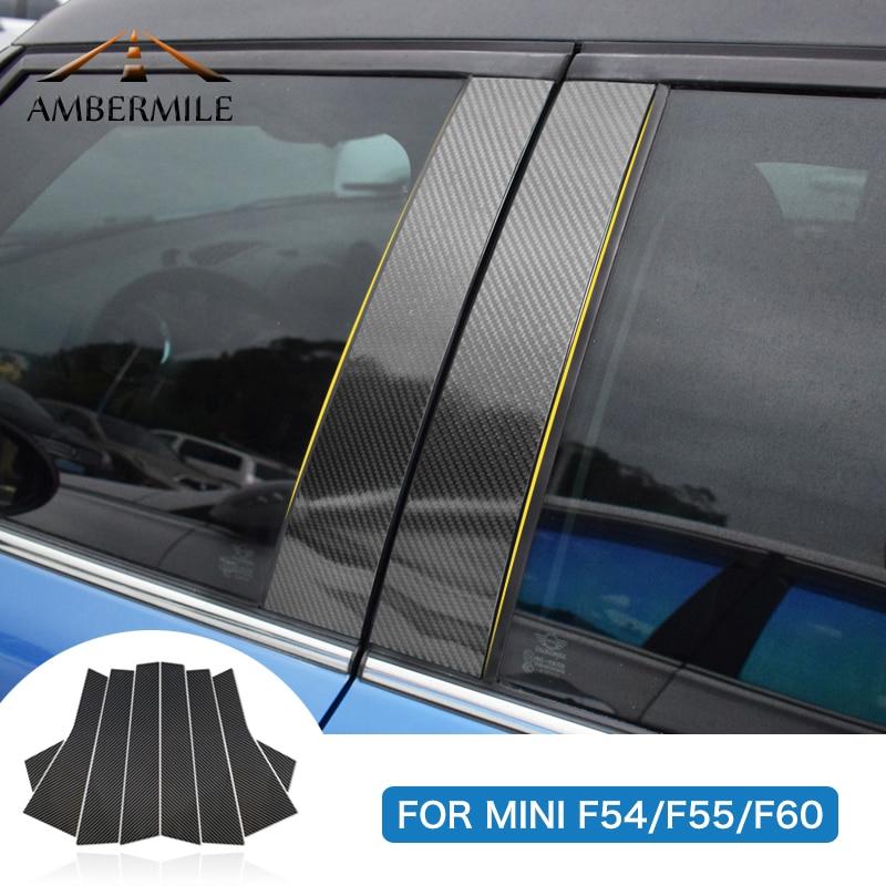 AMBERMILE for Mini Cooper F55 Countryman F60 Clubman F54 Accessories Carbon Fiber B Pillar Cover Trim Window Protection Stickers