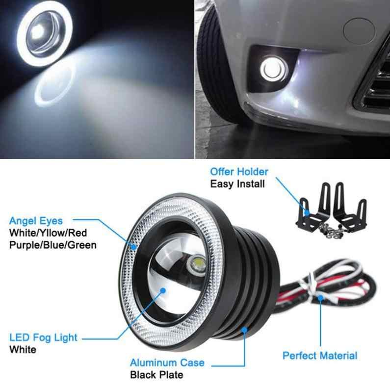 2 sztuk 2.5/3/3.5 Cal 12V samochód COB 1200 lm 30W światła LED światła przeciwmgielne DRL biały anioł oko jazdy żarówki sygnałowe światła do jazdy dziennej