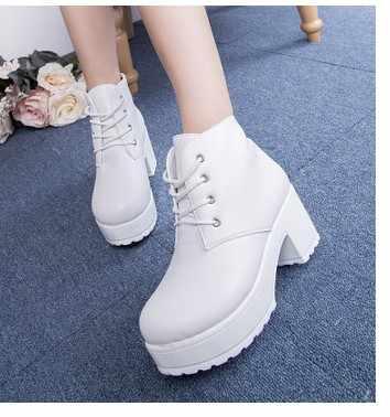 Tasarımcılar 2019 Yeni Bahar Sonbahar Kadın Ayakkabı Siyah Yüksek Topuklu Çizmeler Bağcık Platformu yarım çizmeler Tıknaz Topuk artı boyutu 35- 45