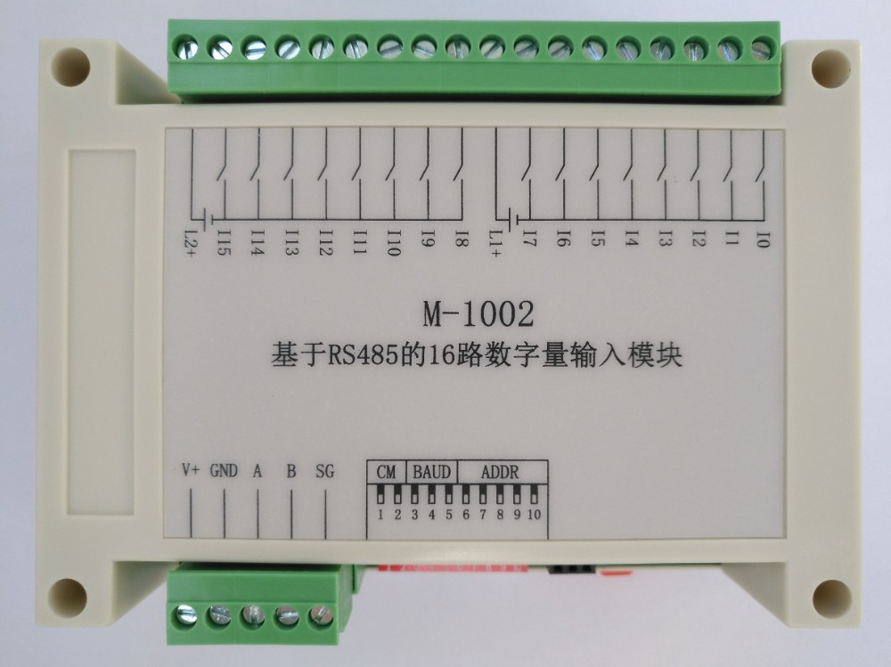 M-1002 Modbus based 16 way isolation digital input module (NPN type) plug and pull terminalM-1002 Modbus based 16 way isolation digital input module (NPN type) plug and pull terminal