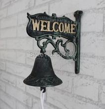 Antique Cast Iron WELCOME Dinner Bell Wall Mounted Home Store Wall Decor Bell Garden Yard Door