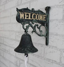 Antique Cast Iron WELCOME Dinner font b Bell b font Wall Mounted Home Store Wall Decor