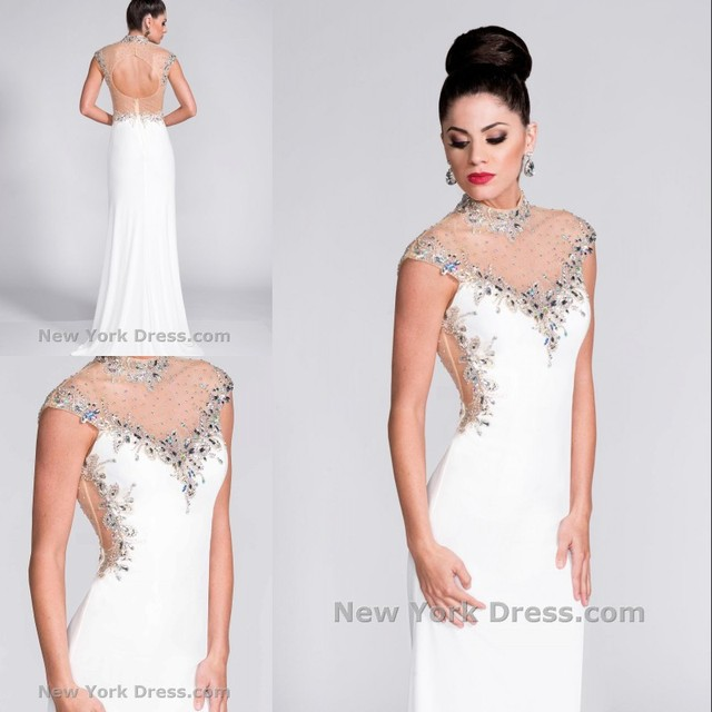 2017 Evening Dresses High Neck Cap Sleeve Backless White Beads Gowns Floor Length Mermaid