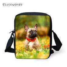 ELVISWORDS Women Messenger Bags Little Bulldogs Print Pattern Shoulder Kawaii Animal Girls Flaps Handbags Kids Mini Mochila