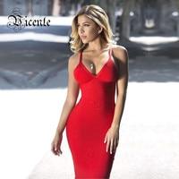 Free Shipping 2015 Hottest Sexy Deep Vneck Spaghetti Straps Midi Length Bodycon Celebrity Party Bandage Dress