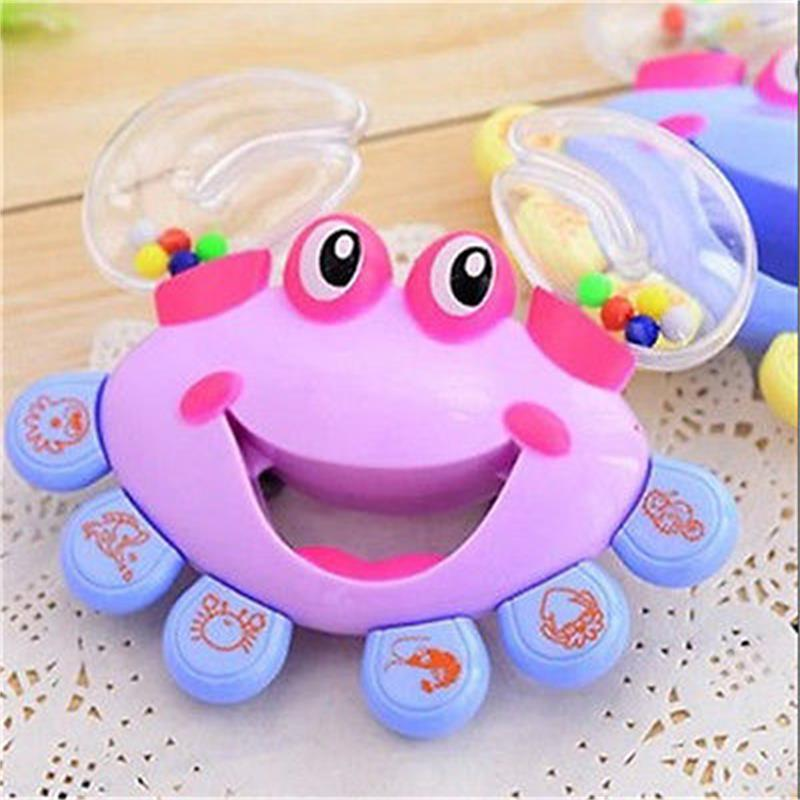 Hot Selling 1Pcs Kids Baby Plastic Rattles Crab Design Handbell Musical Instrument Jingle Shaking Rattle Toy