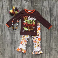 thanksgiving Fall/Winter baby girls brown outfits pant floral little miss thankful arrow clothes ruffle boutique with accessory