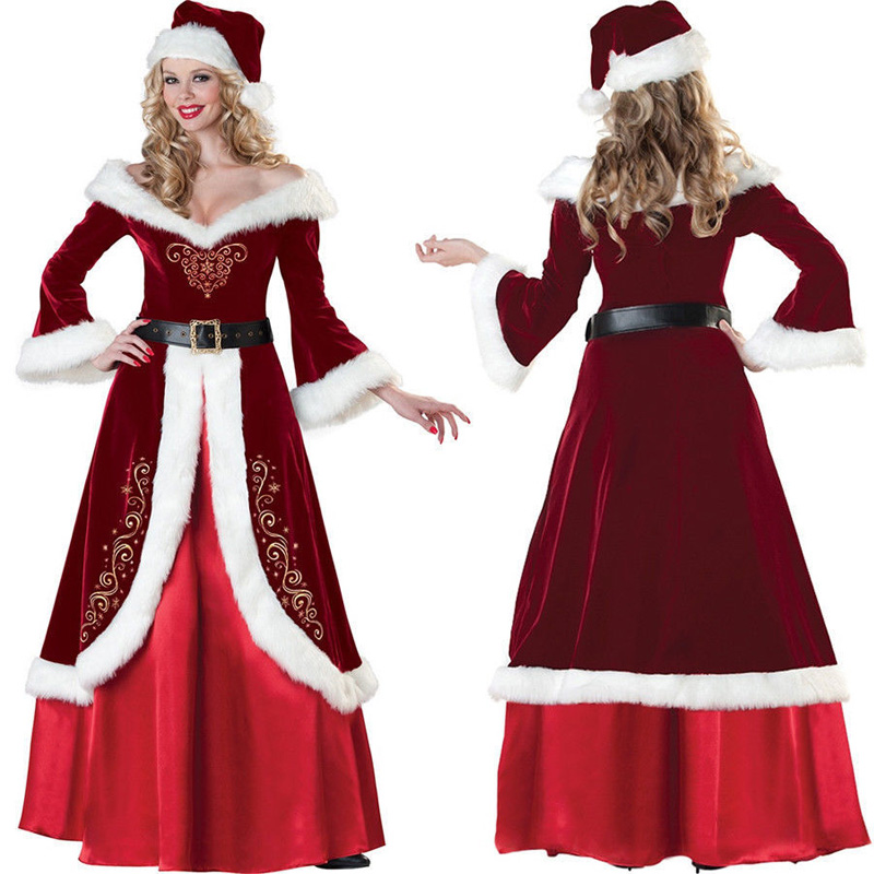 Deluxe Velvet Ladies Santa Claus XMAS Outfit  Costume Merry Christmas Long Dress