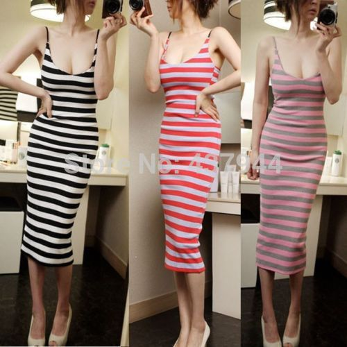 2016 Sexy Womens Holiday Casual Spaghetti Strap Striped Backless Stretch Club Evening Party Bodycon Dress