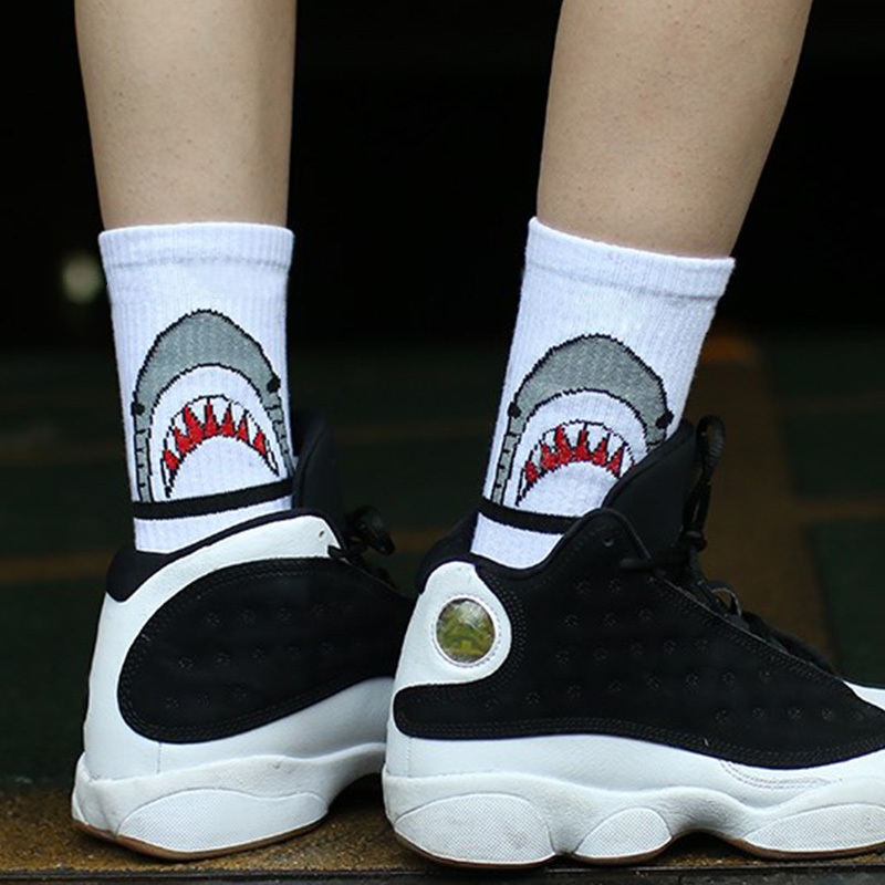 women fashion brand cotton   socks   white shark cartoon funky crazy   socks   men sporty skateboard long compression cool   socks   black